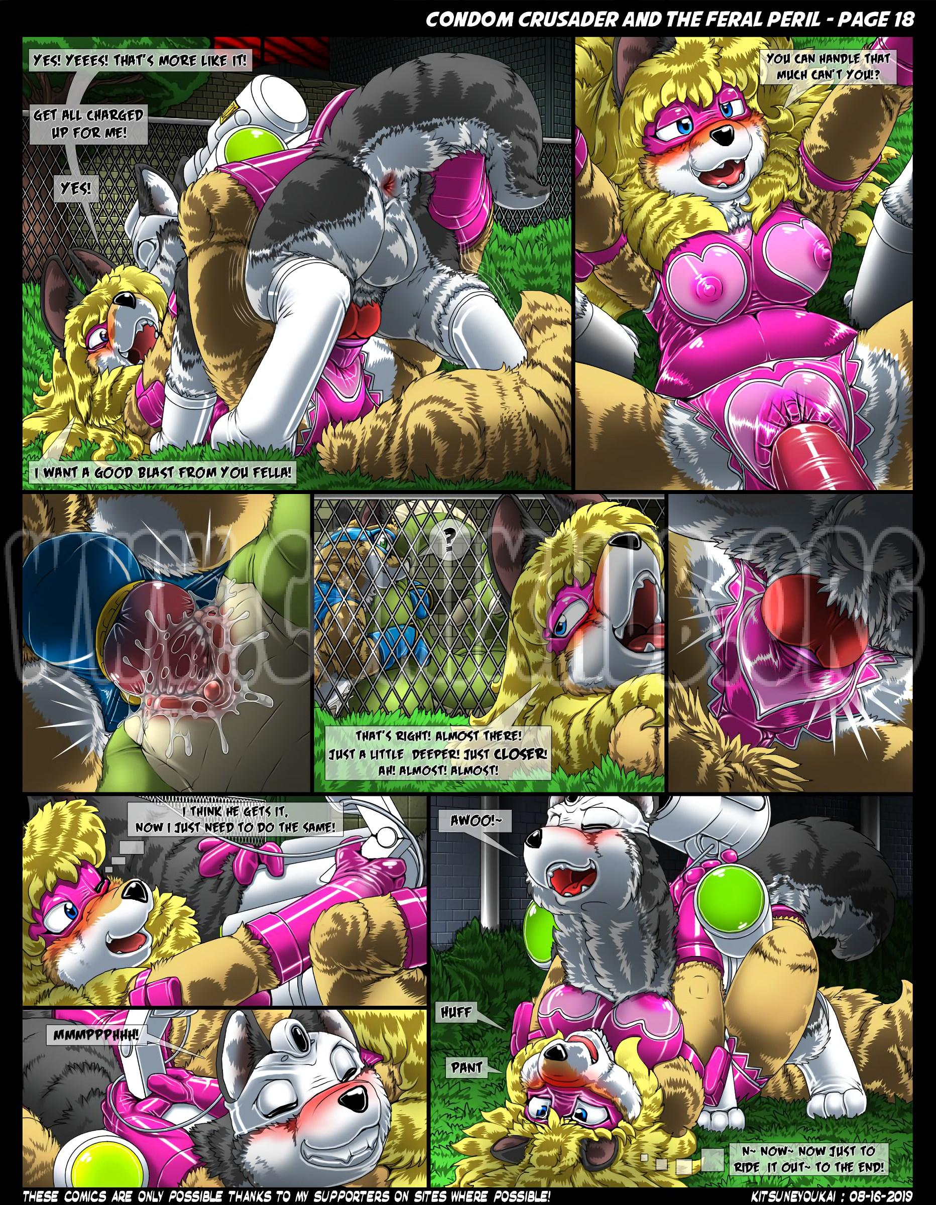 Condom Crusader and the Feral Peril porn comics Straight, Furry, Latex, X-Ray