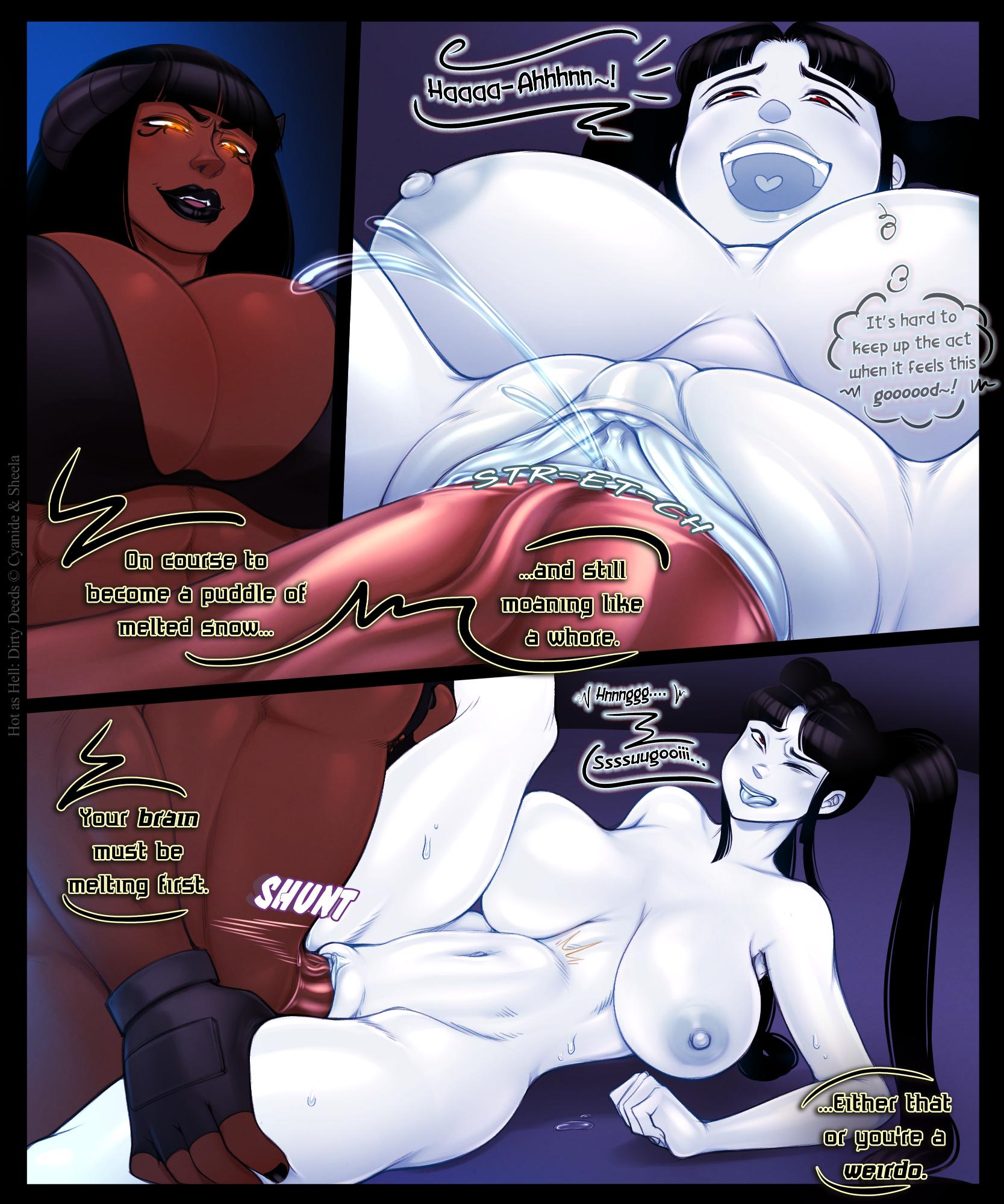 Hot As Hell 2.5: Dirty Deeds porn comics Oral sex, Big Tits, Blowjob, Creampie, Deepthroat, Futanari, Lesbians, Titfuck, X-Ray