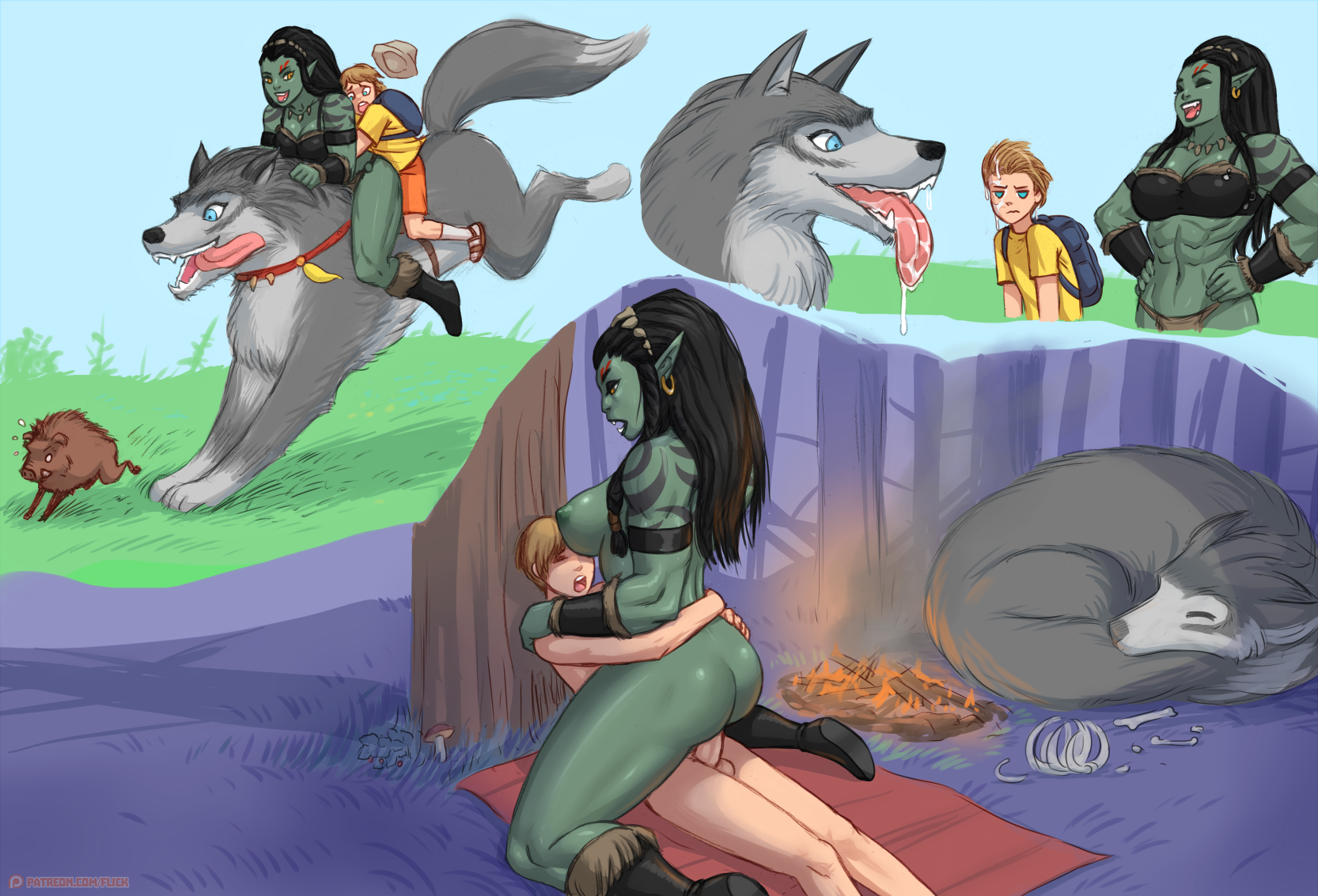 Living with OrcGirl porn comics Lesbians, Monster Girls