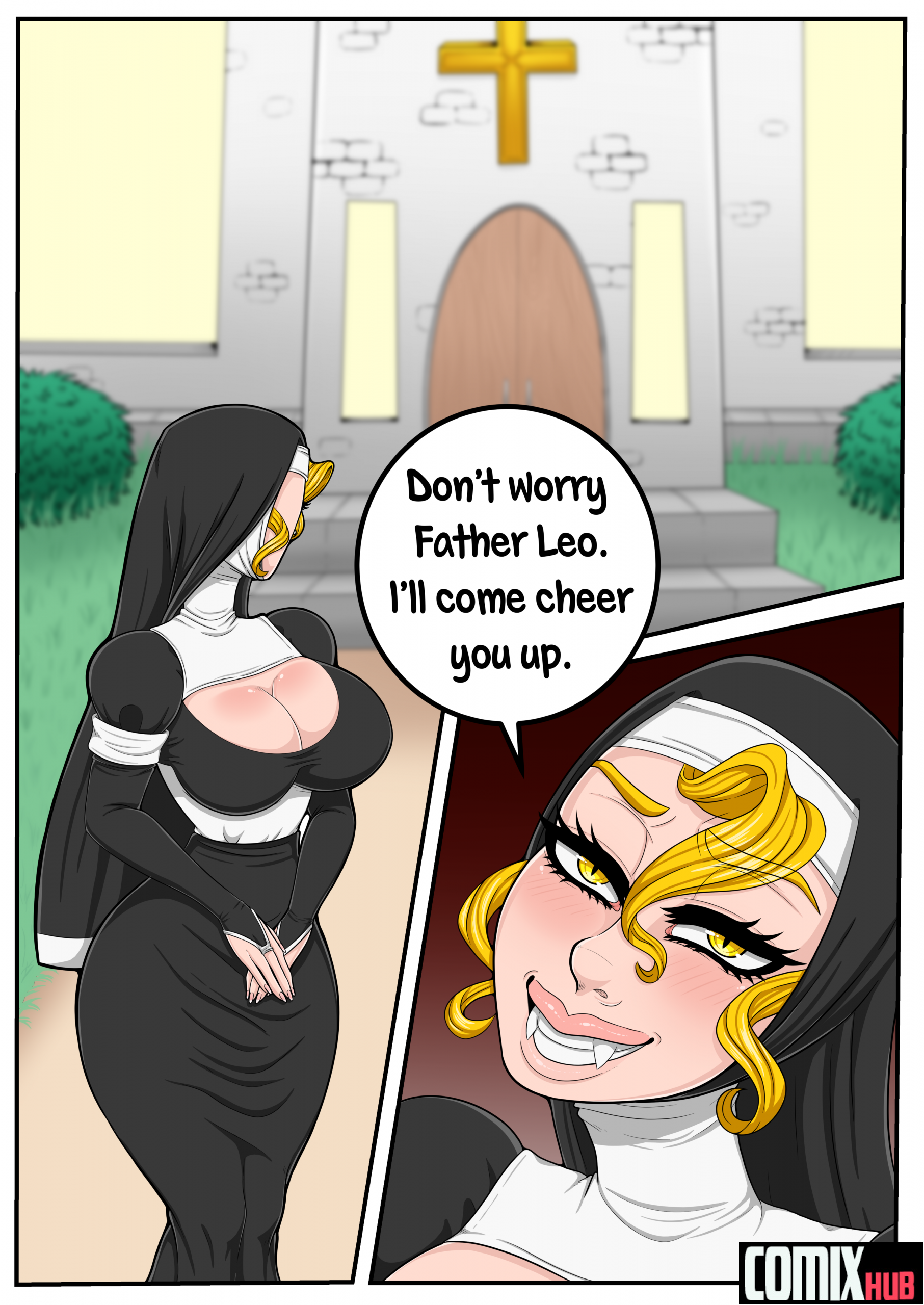 The Nun and Her Priest Straight, Big Tits, Blowjob, Cum Swallow, Femdom, Monster Girls, Titfuck, X-Ray